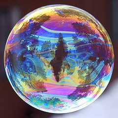 Swirly reflection in a bubble